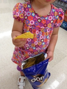 A2 threw a fit in the grocery store and then got what she wanted.